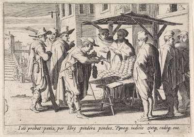 Verkoopster bij kraam; Italiaanse handwerkslieden en verkopers