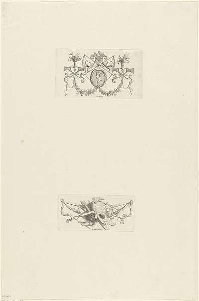 Ornament met zeisen en buste / Vignet met duiven op globe