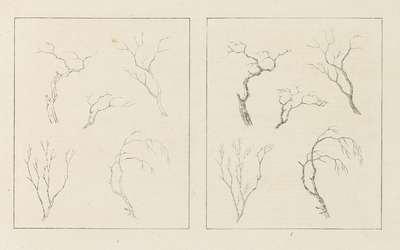Albumblad met twee voorstellingen van kale boomtakken; links het ontwerp, rechts de uitvoering