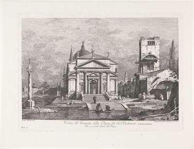 Il Redentore te Venetië; Veduta del Prospetto della Chiesa del S.S.mo Redentore; Gezichten op Venetië naar ontwerpen van Canaletto
