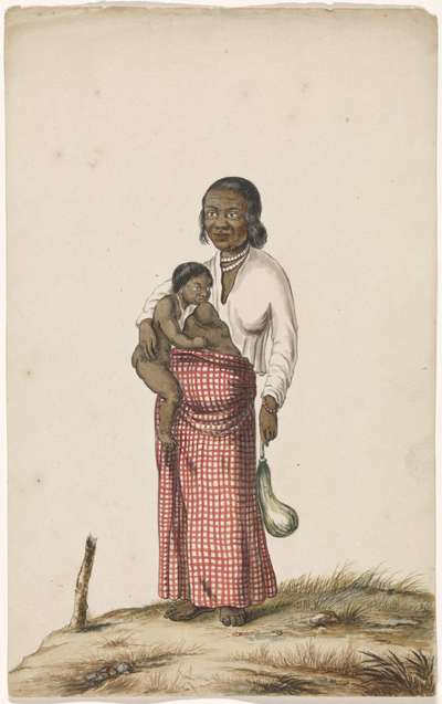 Moorse vrouw met zuigeling en aubergine