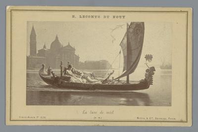 Fotoreproductie van een schilderij van een boot met twee geliefden in Venetië door Jean-Jules-Antoine Lecomte du Nouÿ; La lune de miel