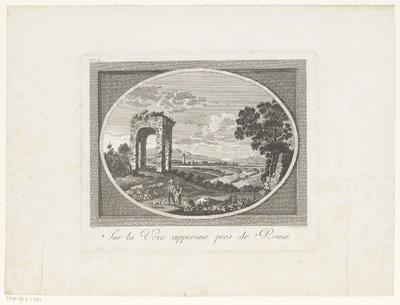 Gezicht op de Via Appia; Sur la Voie Appienne pres de Rome