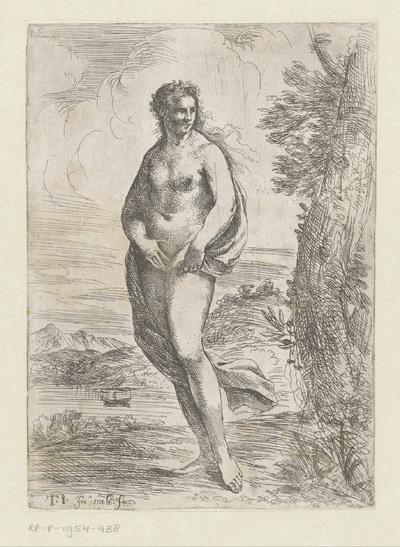 Staande naakte vrouw in landschap