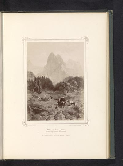 Fotoreproductie van een schilderij van de Wetterhorn; Well-und Wetterhorn. Auf dem Wege nach dem Rosenlauibade