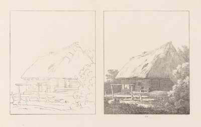 Albumblad met twee voorstellingen van een boerenhut: links het ontwerp, rechts de uitvoering