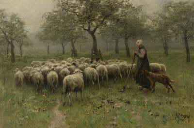 Image from object titled Shepherdess with a Flock of Sheep