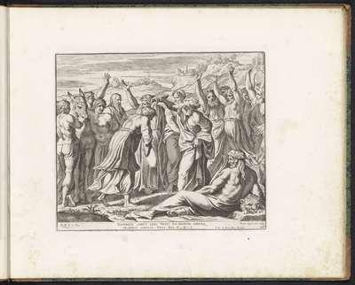Salomo door Sadoc tot koning gezalfd; Schilderingen in de Loggia van Rafaël; Imagines Veteris ac Novi Testamenti; Rafaël Bijbel