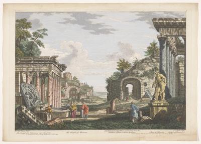 Gezicht op de ruïnes van de Tempel van Minerva Medica, de Tempel van Concordia en andere monumenten te Rome; Romeinse oudheid