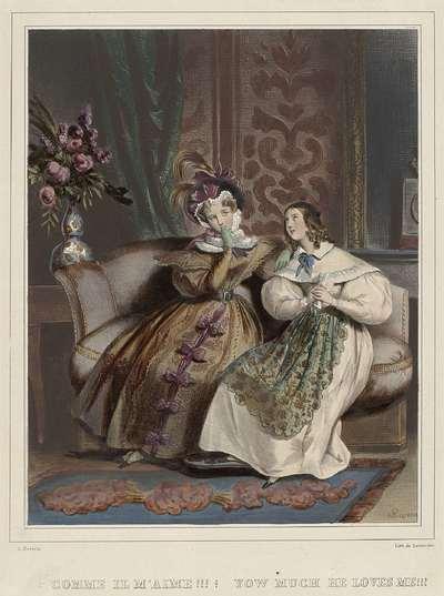 Les femmes. Galerie fashionable, ca. 1830: Comme il m'aime!!! (...)