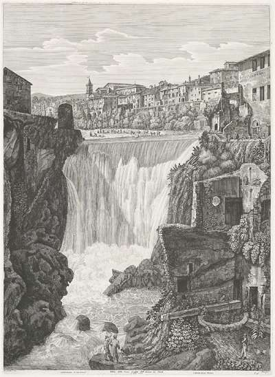 Grote watervallen bij Tivoli; Veduta della Gran Caduta dell' Aniene in Tivoli