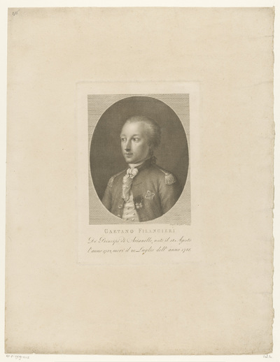Portret van filosoof en jurist Gaetano Filangieri