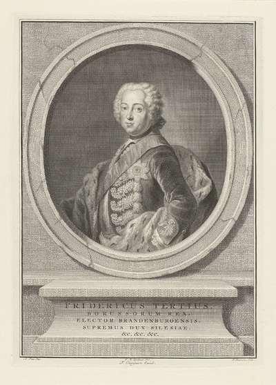 Portret van Frederik II de Grote, koning van Pruisen; Fridericus Tertius