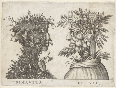Lente en Zomer verbeeld door groteske koppen; Primavera / Estate