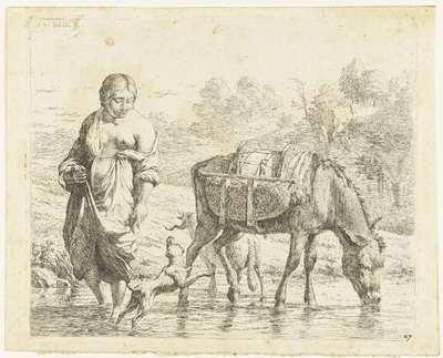 Vrouw en ezel staan in ondiep water, een hond springt op voor haar voeten