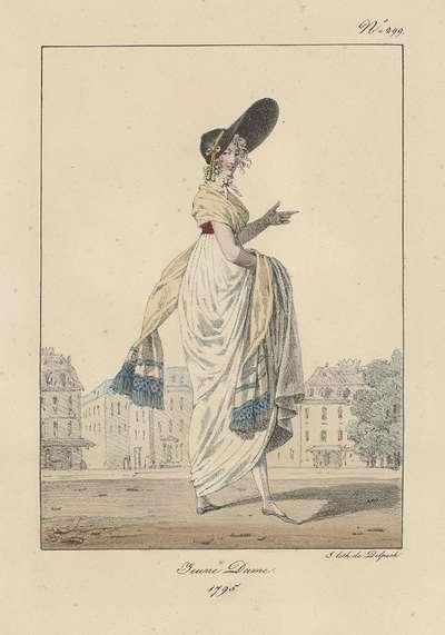 Costumes civils et militaires de la monarchie française de 1200 à 1820, 1795, No. 299 : Jeune Dame.