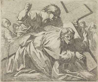 Christus bezwijkt onder het gewicht van het kruis
