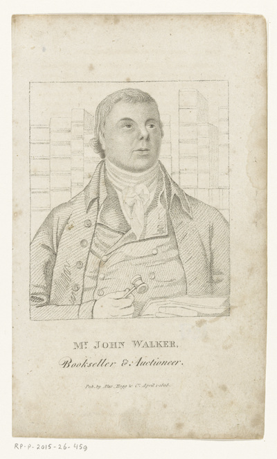 Portret van boekverkoper en veilinghouder John Walker; Mr. John Walker, Bookseller & Auctioneer