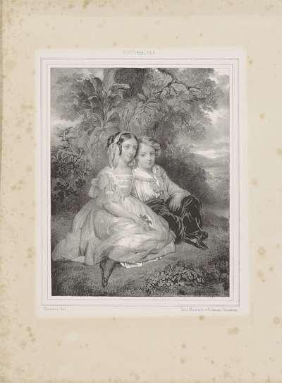 Portret van jongen en meisje bij een boom