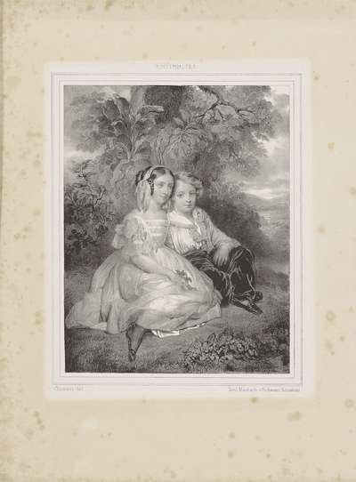 Image from object titled Portret van jongen en meisje bij een boom
