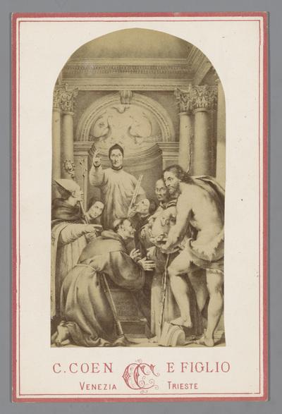 Fotoreproductie van een tekening naar een schilderij van heiligen door Il Pordenone