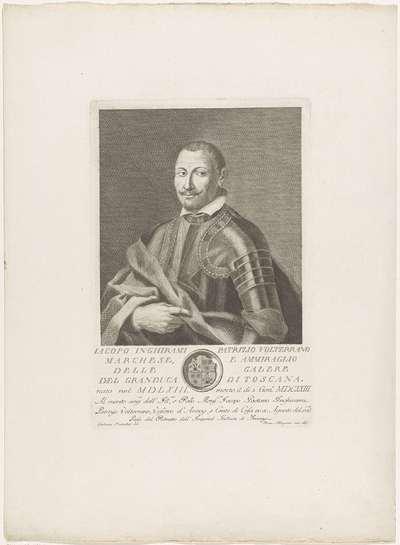 Portret van Jacopo Inghirami; Portretten van beroemde Italianen met wapenschild in ondermarge