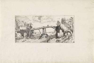 Heuvelachtig landschap met een brug over een rivier; Landschappen