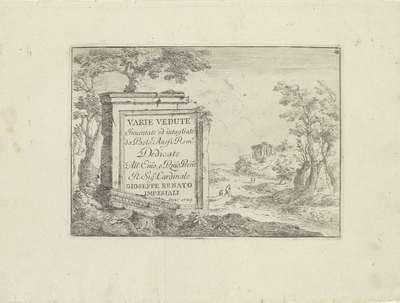 Titelprent met tekst op marmeren blok in Italiaans landschap; Varie Vedute