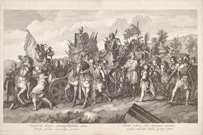MIlitaire stoet met oorlogsbuit op kar; Triomftocht van Alexander de Grote in Babylon
