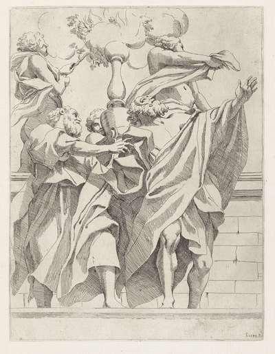 Profeten met drie engelen; Koepeldecoraties door Correggio in de S. Giovanni Evangelista in Parma