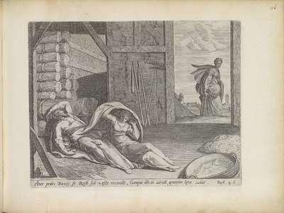 Ruth slaapt aan het voeteneinde van Boaz; Geschiedenis van Ruth; Theatrum Biblicum Hoc Est Historiae Sacrae Veteris et Novi Testamenti Tabulis Aeneis Expressae