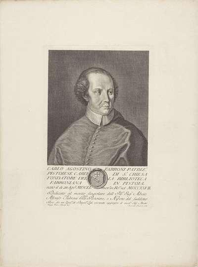 Portret van kardinaal Carlo Agostino Fabroni; Portretten van beroemde Italianen met wapenschild in ondermarge