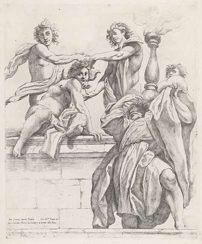 Apostel en vier engelen; Koepeldecoraties door Correggio in de S. Giovanni Evangelista in Parma