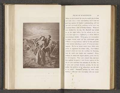 Fotoreproductie van een schilderij door William Mulready, voorstellend een scene uit The Vicar of Wakefield door Oliver Goldsmith; Sophia and Mr. Burchell in the Hayfield