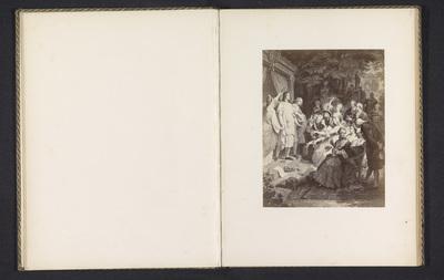 Fotoreproductie van een prent, voorstellende Johann Wolfgang von Goethe die wordt gelauwerd door een gezelschap te Weimar