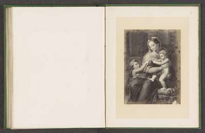 Fotoreproductie van een prent door François Forster van de Madonna della Rosa door Rafaël
