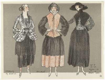Image from object titled Gazette du Bon Ton, 1920 - No. 7, Croquis Pl. XXXVI: Poiret