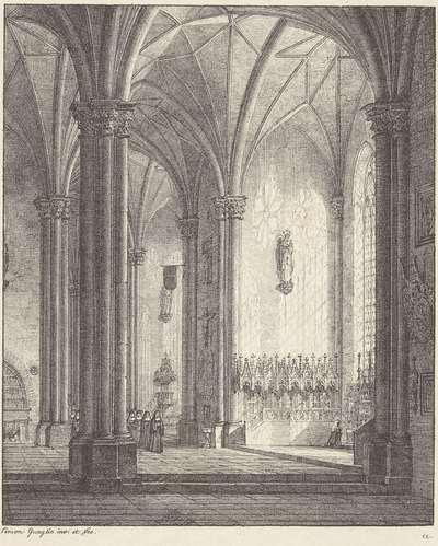 Interieur van een gotisch klooster
