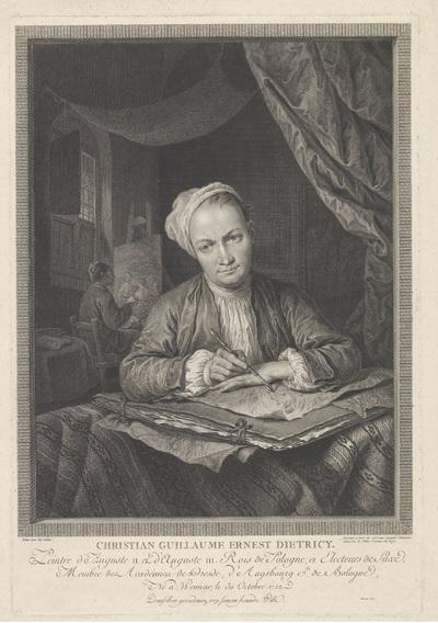 Portret van kunstenaar Christian Wilhelm Ernst Dietrich; Christian Guillaume Ernest Dietricy