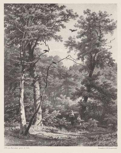 Twee houtdragende figuren in het bos