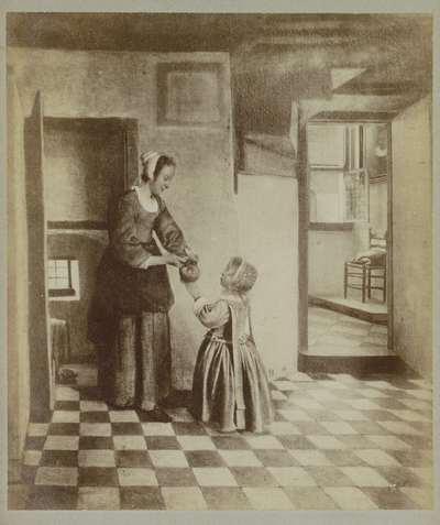 Fotoreproductie van het schilderij 'Een vrouw met een kind in een kelderkamer' door Pieter de Hooch; Musée d'Amsterdam. Pieter de Hoogh. - Le Cellier.