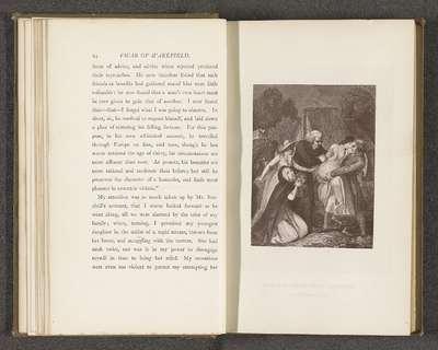 Fotoreproductie van een prent door Thomas Stothard, voorstellend een illustratie voor The Vicar of Wakefield door Oliver Goldsmith; Sophia rescued from drowning