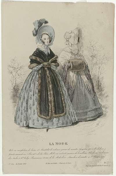 La Mode, 14 janvier 1837, Pl. 539 : Robe en mousseline de lain (...)