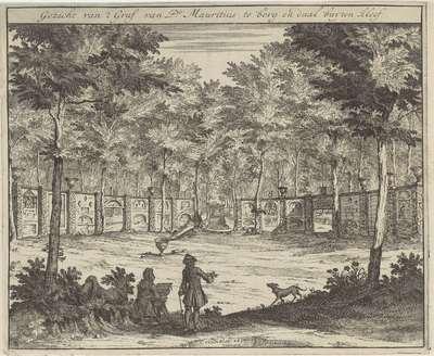Gezicht op het graf van Johan Maurits, graaf van Nassau-Siegen, bij Kleef; Gezicht van 't Graf van Pr. Mauritius te berg en daal buyten kleef