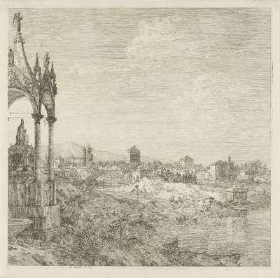 Gezicht op een stad met graftombe van een bisschop; Gezichten op bestaande en verzonnen plaatsen; Vedute altre prese da i Luoghi altre ideate da Antonio Canal