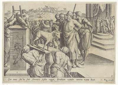 Jerobeam laat twee gouden stierkalveren oprichten; Geschiedenis van Jerobeam en Rechabeam; Theatrum biblicum (...)