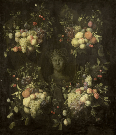 Image from object titled Marble Bust surrounded by a Festoon of Fruit