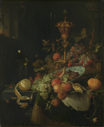 Image from object titled Still Life with Fruit and a Beaker on a Cock's Foot