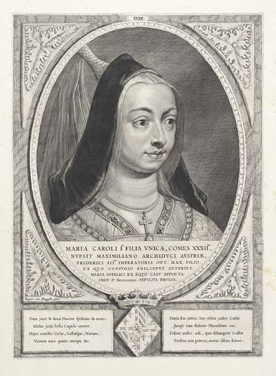 Portret van Maria, hertogin van Bourgondië; Maria Caroli I Filia Vnica, Comes XXXII