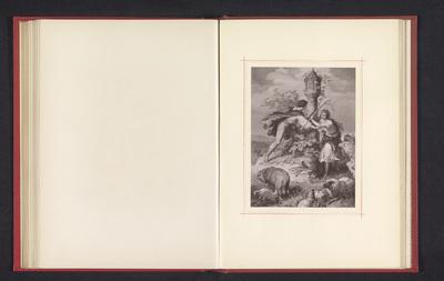 Fotoreproductie van een tekening, voorstellende twee schaapsherders met een kudde